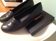 13A CHANEL Black Leather Mocassins Loafers Flats Shoes CC Logo