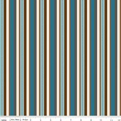 Cotton Fabric in Blue, Cream, Brown Stripe by Riley Blake Design For Pirate Matey's