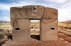 The Gate of the Sun. Located in Bolivia and standing at 13,000 feet, the area is claimed to be the cradle of the first humans on Earth. The gate is decorated in engravings that are believed to represent astronomical and/or astrological significance.