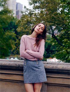 madewell et sézane® brigitte sweater worn with the madewell et sézane® léonie sailor skirt.