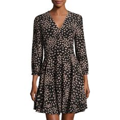 Rebecca Taylor Aster Floral Long-Sleeve Silk Dress ($166) ❤ liked on Polyvore featuring dresses, black, silk floral dress, flower print dress, long-sleeve floral dresses, fit and flare dress and long sleeve dresses