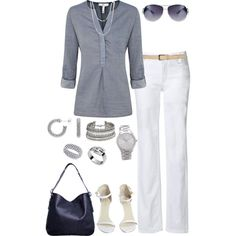 Chambray Top & White Pants - Polyvore