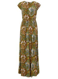 **Ruby Rocks Green Paisley Maxi Dress