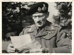 General Bernard Montgomery of the British Army takes a quiet moment to read his mail during unannounced visit to England. Bernard Montgomery, Show Me A Hero, Field Marshal, Man Of War, Famous Photos, Military Uniforms, Historical Images, Winston Churchill, Press Photo