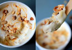 40 cl de crème entière liquide + 250g de lait concentré sucré + topping  Fouetter la crème jusqu'à obtenir une texture de chantilly bien ferme.  Ajouter le lait concentré sucré, et l'incorporer à l'aide d'une spatule, maryse.  Ajouter le « topping » de votre choix ! Pour moi : caramel beurre salé et cacahuètes Placer au congélateur, dans un bac ou des pots fermés, environ 6 heures, et vous obtiendrez une glace fondante, crémeuse et gourmande….