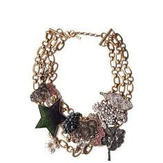 Marc Jacobs  Statement Charm Necklace ($365) ❤ liked on Polyvore featuring jewelry, necklaces, swarovski crystal necklace, green charm, antique gold jewellery, antique gold necklace and swarovski crystal charms