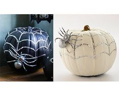 Celebrate Halloween in style with a sparkly pumpkin decorated with rhinestones and a silver spider.