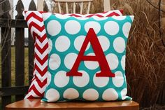 Cute felt monogram pillows - love these colors.. with grey - for a living room