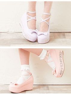 dreamv: -Book-[in the thick bottom wedge stability Sock Shoes, Cute Shoes, Me Too Shoes, Kawaii Shoes, Kawaii Clothes, Kawaii Fashion, Lolita Fashion, Vintage Style Shoes, Lolita Shoes