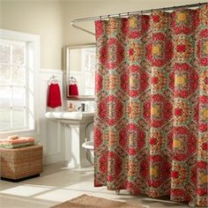 Kashmir Ruby Retro Fabric Shower Curtain By MStyle