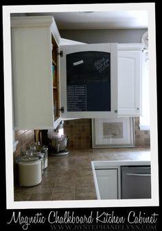 kitchen cabinet door magnetic chalkboard message center