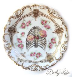 Vintage - Illustrated - Skeleton Ribcage Plate - Wall Display - Altered Plate - Antique - Upcycled - Day of the Dead - Goth
