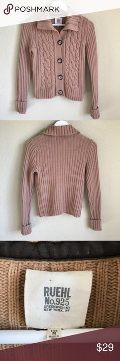 """RUEHL Wool Cashmere Cardigan Sweater RUEHL No. 925 Wool Cashmere Cardigan Sweater Cable Knit - Cozy - Stretchy - Neutral Color 17"""" bust 22"""" long Excellent condition   Thank you for looking and please check out the rest my closet. Ruehl No.925 Sweaters Cardigans"""