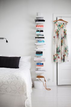 Love this shelving next to the bed