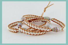 Wikkelarmbanden - Leren triple wrap armband zilver/mint multicolor - Een uniek product van Unycq op DaWanda