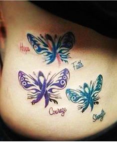 Tattoo. Hope faith courage strength. Too to bottom: SIDS awareness Sarcoidosis awareness Ovarian cancer/HPV awareness