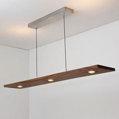 Vix 5 Light LED Linear Pendant Light- over dining table would coordinate with other walnut fixture over island and bring walnut into dining room since area is open to each other. Pool Table Lighting, Home Lighting, Modern Lighting, Lighting Design, Kitchen Lighting, Light Fittings, Light Fixtures, Luminaria Diy, Ceiling Lamp