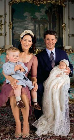 Mary, Crown Princess of Denmark and Frederik, Crown Prince of Denmark with their two oldest children Prince Christian Valdemar Henri John and Princess Isabella Henrietta Ingrid Margrethe.