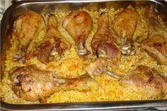 Ингредиенты:· 2 луковицы· 1 б консервированной кукурузы· 2 ст.риса· Куриные окорочка или голени (количество-ориентируйтесь на едоков)· Соль,перец паприка, пряности по вкусу.Приготовление:Лук …