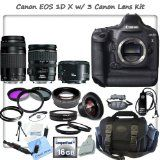 Canon EOS-1D X Digital SLR Camera With Canon EF 28-135mm f/3.5-5.6 IS USM Standard Zoom Lens & Canon EF 75-300mm f/4-5.6 III Telephoto Zoom Lens & Canon EF 50mm f/1.8 II Camera Lens + CS Pro Kit: Includes Canon Remote Switch RS-80N3, 16GB High Speed Compact Flash Memory Card, CF Card Reader, Wrist Strap, High Definition Wide Angle Lens, Telephoto HD Lens, 3 Piece Professional Filter Kit (UV,CPL,FLD) 4 Piece Macro Close-up Set, 2 UV Filters, Lens Cap Keeper, Profession