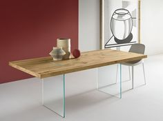 Tavolo rettangolare TAVOLANTE AGED OAK by T.D. Tonelli Design design Marco Gaudenzi