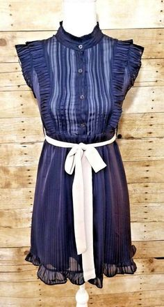 cabc074d140 Details about FOREVER 21 A-Line Semi Sheer Dress Women s Sz Small Button    Tie Front Ruffles