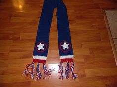 Captain America Scarf Crochet Handmade Marval by MainStreetMania