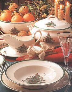 My Christmas China - I love it!!  I need the Soup Tureen, Gravy Boat and Soup Bowls.
