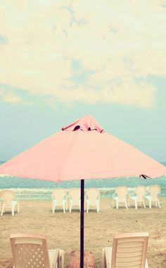 Pastel Pink aqua mint beach umbrella ocean sea view clouds iphone phone wallpaper background lock screen