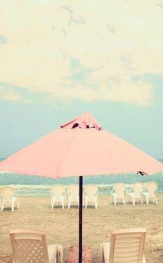 Pastel Pink aqua mint beach umbrella ocean sea view clouds iphone phone wallpaper background lock screen
