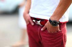 men's watch x red jeans x hermès belt