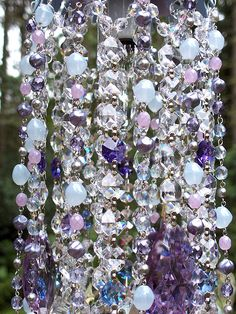 Jeweled Blue Violet Petite Waterfall Chandelier by sheriscrystals