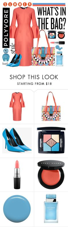 """What's in the Bag"" by polyvore-suzyq ❤ liked on Polyvore featuring Roksanda, RED Valentino, Balenciaga, Christian Dior, MAC Cosmetics, Bobbi Brown Cosmetics, Jin Soon, Dolce&Gabbana and Marc Jacobs"