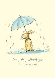 Anita Jeram Illustration - rabbit - Every day without you is a rainy day Anita Jeram, Rabbit Art, Bunny Art, Children's Book Illustration, Animal Illustrations, Whimsical Art, Oeuvre D'art, Cute Drawings, Cute Art