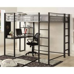Furniture of America Claremonte Silver and Grey Metal Loft Bed with Workstation | Overstock.com Shopping - Great Deals on Furniture of America Kids' Beds
