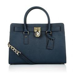 Michael Kors Tasche – Hamilton LG EW Satchel Navy – in blau aus Saffianoleder – Henkeltasche für Damen