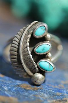 Vintage Signed Navajo Style Sterling Silver Turquoise Ring