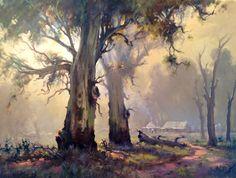 'Smoke Haze' Oil on Canvas Robert Wilson Pastel Landscape, Watercolor Landscape, Landscape Art, Landscape Paintings, Watercolor Art, Environment Painting, Environment Concept Art, Australian Painting, Wilson Art