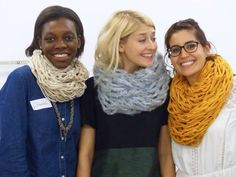 Chunky knit snoods made by Arm Knitting - looks particularly good in the floaty pale blue yarn