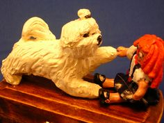 Maltese puppy with Raggedy Ann type doll, OOAK sculpture