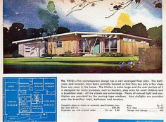From the catalog Deluxe Small Homes. Living area sq ft Garage and Modern Floor Plans, Modern House Plans, House Floor Plans, Mid Century House, Mid Century Style, Residential Architecture, Modern Architecture, Split Entry Remodel, Vintage House Plans