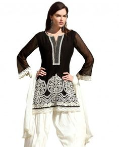 $78 A perfect day n night combination for the desired look of the evening..!! The design is filled with embroidery all over. Neckline is round in shape and bottom looks amazing with floral embroidery all over and bottom is finished with lace work.    Color-Black and white  Material-Georgette and cotton  Work-Floral embroidery  Slight variation in color is possible