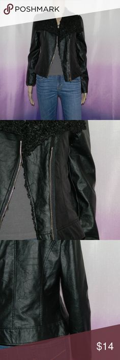 "Black Faux Leather Moto Jacket Size small, medium, and large, very good condition, medium has small scratch on shoulder, 60% polyester 40% pvc, small: 16"" bust, 18.5"" long, 23"" sleeve, medium: 17"" bust, 20"" long, 23"" sleeve, large: 17.5"" bust, 21"" long, 25"" sleeve, worn 5-7 times -Sorry NO TRADES and NO HOLDS -Ships from California -Comes from smoke free, dog friendly homes -I can't model at this time, the mannequin measurements are 32.5"" bust, 24"" waist, 34"" hips, and is 5'10"" and a size…"