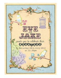 Whimsical invitation with birds & flowers - You And Your Wedding