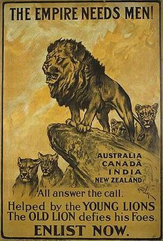 The Parliamentary Recruiting Committee produced this First World War poster.  Designed by Arthur Wardle (1860-1949), the poster urges men from the Dominions of the British Empire to enlist in the war effort.