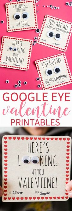 Googly Eye Valentine Free Printable Download! Add some Silly and Fun to Valentine's Day with these silly Valentine Cards!