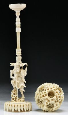 A Chinese Antique Carved Ivory Puzzle Ball : Lot 200 Oriental Fashion, Oriental Style, Statue Base, Chinese Antiques, Wood Turning, Archaeology, China, Dragon Ball, Sculptures