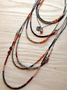 ∆∆∇∇ elementality | unique jewelry + clothing + art | gemstone layering necklaces by -hush-