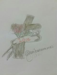 Kors tegning med rose o.s.v
