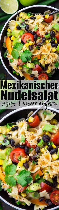 Dieser Nudelsalat mit schwarzen Bohnen, Avocado und Mais ist eines meiner Lieblingsrezepte. Mexikanische Rezepte gehen einfach immer!! Mehr vegetarische Rezepte und vegane Rezepte findet ihr auf veganheaven.de